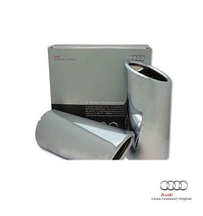 Audi A3 8V - Rivestimento terminale scarico sportivo doppio, lato sinistro, argento cromato